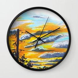 Suburban Sunset Wall Clock