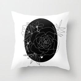 Black & White Floral Art Throw Pillow