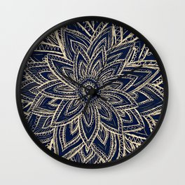 Cute Retro Gold abstract Flower Drawing  geometric Wall Clock