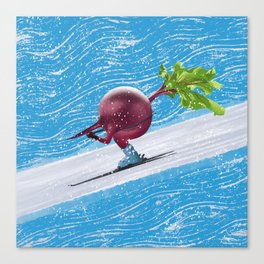 Beetroot skiing for the gold at the winters edition of the Seasonal Fruit and Veggie Olympics Canvas Print