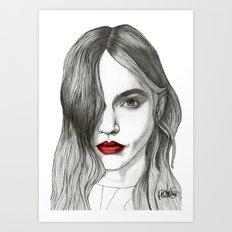 Sasha with Red Lips Art Print