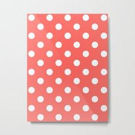 Polka Dots - White on Pastel Red Metal Print