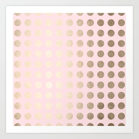 Simply Polka Dots White Gold Sands on Flamingo Pink Art Print