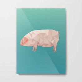 Geometric Pig Metal Print