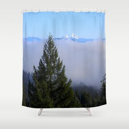 Beyond the fog is Mount Lassen.... Shower Curtain