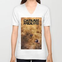 book cover V-neck T-shirts featuring Cathair Apocalypse Book 1 Cover by Cathair Apocalypse