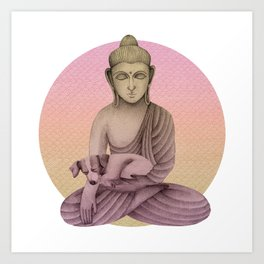 Buddha with dog 6 Art Print
