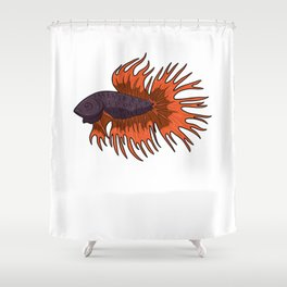 Betta Splendens Siamese Fighting Fish Aquarium Shower Curtain