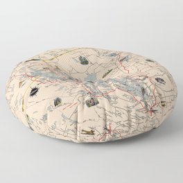 Map Of Muskoka 1949 Floor Pillow