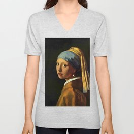 Girl with a Pearl Earring old painting Unisex V-Neck