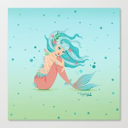 Monster Mermaid Pin-Up Canvas Print
