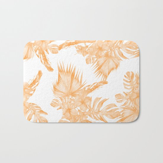 Island Vacation Hibiscus Palm Coral Orange Bath Mat