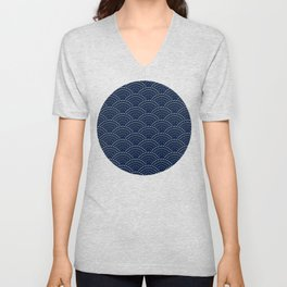 Japanese Blue Wave Seigaiha Indigo Super Moon Pattern Unisex V-Neck