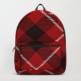 Dark Red Tartan with Diagonal Black and White Stripes Backpack