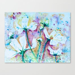 Cool Blue Vibrant Cosmos watercolor by CheyAnne Sexton Canvas Print