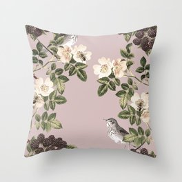 Birds and the Bees Pink Berry Throw Pillow