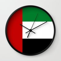 arab Wall Clocks featuring United Arab Emirates country flag by tony tudor