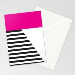 Minimal Triangles Black-White-Magenta Stationery Cards