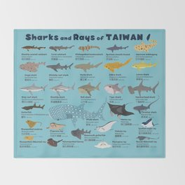 Sharks and Rays of Taiwan Throw Blanket