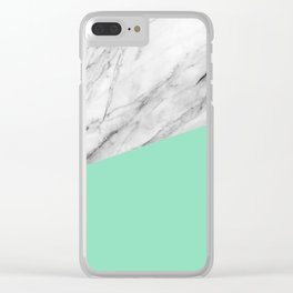 Carrara Marble and Sea Color Clear iPhone Case