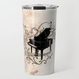 Music, piano with key notes and clef Travel Mug