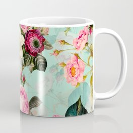 Vintage & Shabby Chic - Summer Teal Roses Flower Garden Coffee Mug