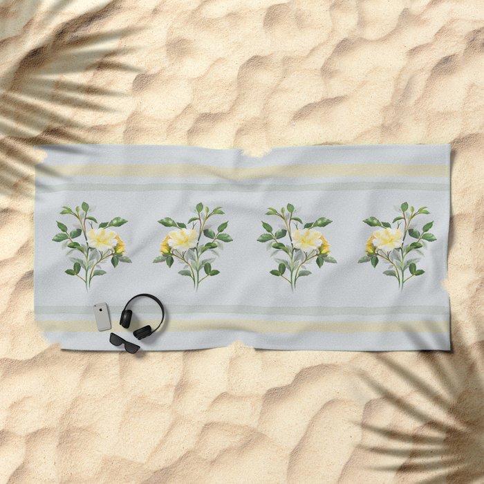 Yellow Watercolor Rose Beach Towel