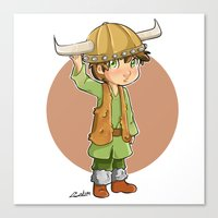 hiccup Canvas Prints featuring chibi hiccup by theginga15