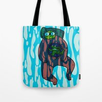 pool Tote Bags featuring Pool by frogandfly