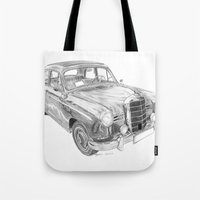 mercedes Tote Bags featuring Mercedes-Benz 180 by Gábor Vida