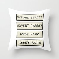 calendars Throw Pillows featuring London by Shabby Studios Design & Illustrations ..