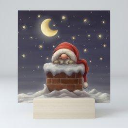 Little Santa in a chimney Mini Art Print