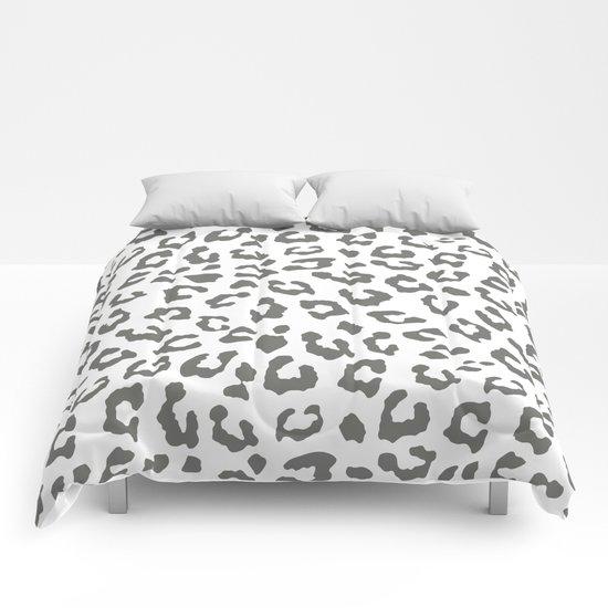 Safari Leopard Print - Grey & White Comforters