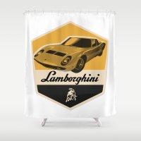 lamborghini Shower Curtains featuring Lamborghini Miura by Liviu Antonescu
