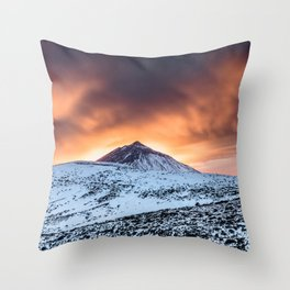 Golden hour sunset in Teide National Pak Throw Pillow