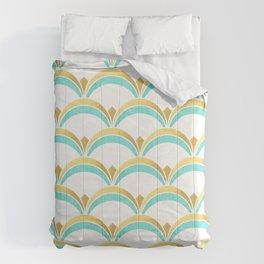 Mint and Gold Gatsby Twenties Deco Fan Pattern Comforters