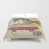 surfing Duvet Covers featuring Surfing by Julia