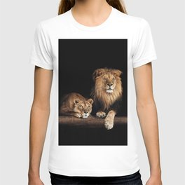 Happy lion and lioness on the log. Beautiful animal photo on dark background T-shirt