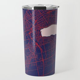Barrie, ON, Canada, Blue, White, City, Map Travel Mug
