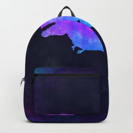 T-REX IN SPACE // Dinosaur Graphic Art // Watercolor Canvas Painting // Modern Minimal Cute Backpack