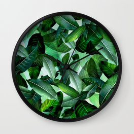 Banana palm leaf tropical jungle green Wall Clock