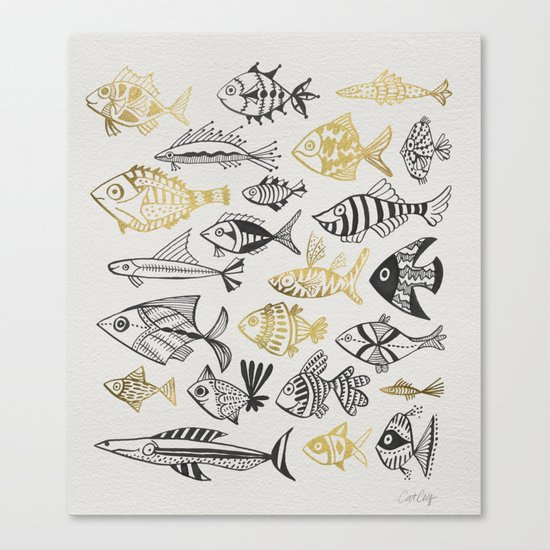 Inked Fish – Black & Gold Canvas Print