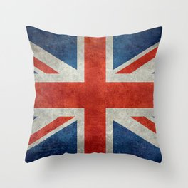 "UK British Union Jack flag ""Bright"" retro Throw Pillow"