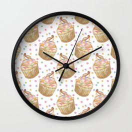 Watercolor cupcakes Wall Clock