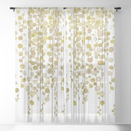 golden string of pearls watercolor 2 Sheer Curtain
