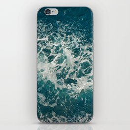 Waves in blue and white sea iPhone Skin
