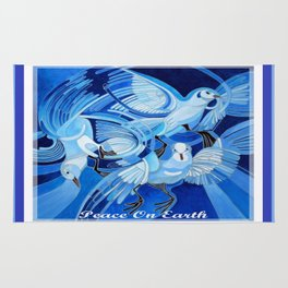 Peace On Earth Greetings With Doves  Rug