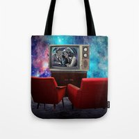 tv Tote Bags featuring Television by Cs025