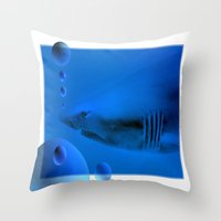 shark Throw Pillows featuring Shark by Laake-Photos