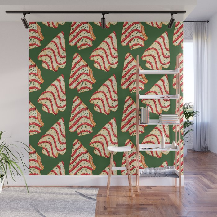 Christmas Tree Cakes Pattern - Green Wall Mural